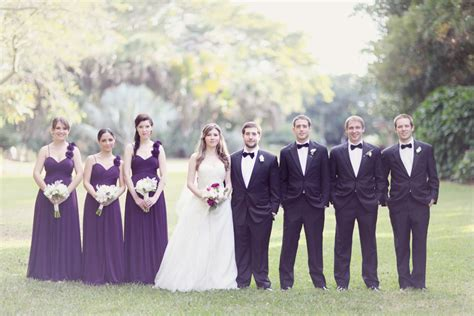 elegant purple and black bridal party elizabeth anne