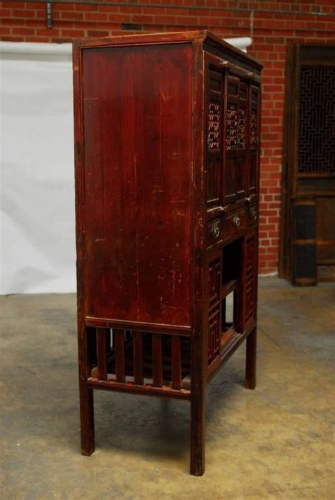 Chinese Lacquered Kitchen Cabinet with Lattice Doors For
