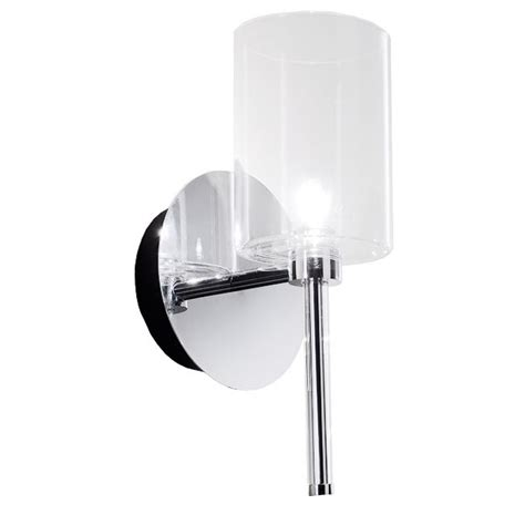 modern clear glass shade wall sconce in chrome finish 7384