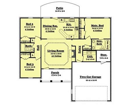 1400 square foot house plan 3 bedroom 2 bath Add
