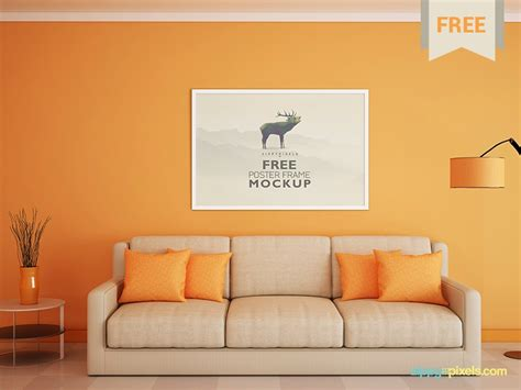Interior living room wall background mockup with furniture and decoration. Free Poster and Photo Frame Mockup by ZippyPixels | Dribbble | Dribbble