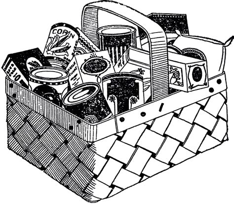 grocery clipart black and white vintage grocery basket image the graphics