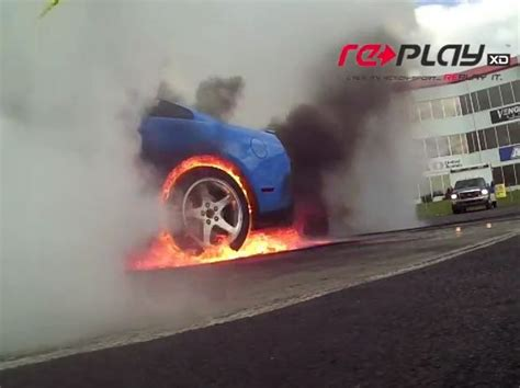 Mustang Burnout Ends With Burning Tire