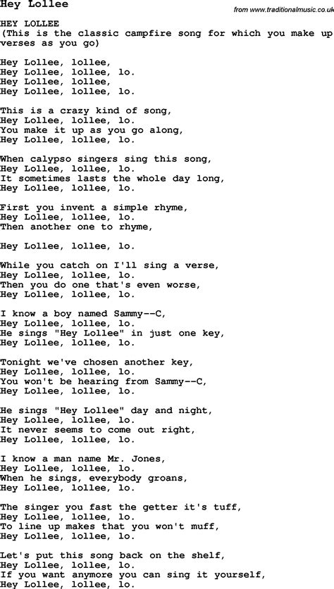 Summer Camp Song, Hey Lollee, With Lyrics And Chords For Ukulele, Guitar, Banjo Etc