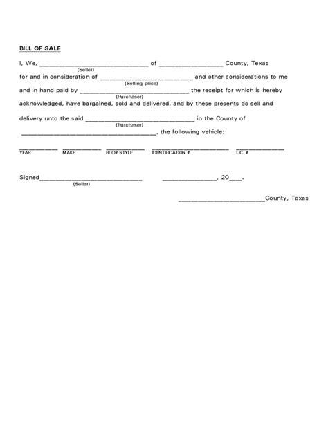 texas bill  sale form  templates   word