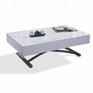 Table Basse Relevable Pas Cher : inside75 table basse relevable cube blanche brillante extensible 12 couverts 120 pas cher ~ Teatrodelosmanantiales.com Idées de Décoration