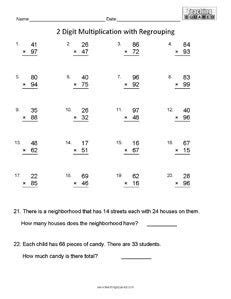 single digit vertical division with regrouping free worksheet 100 addition facts 1 20 teaching squared