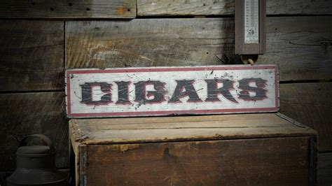 Distressed Primitive Cigars Sign Rustic Hand Made