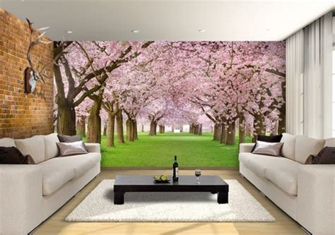 cherry blossom trees custom wallpaper mural print  jw