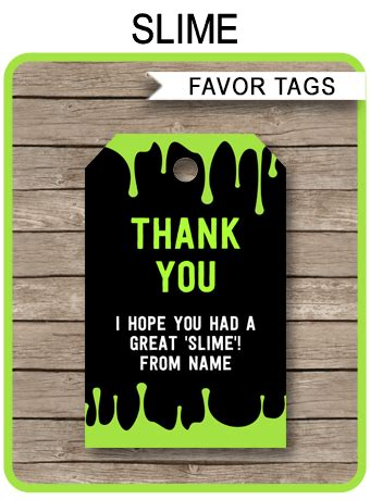 slime party favor tags slime   tags slime