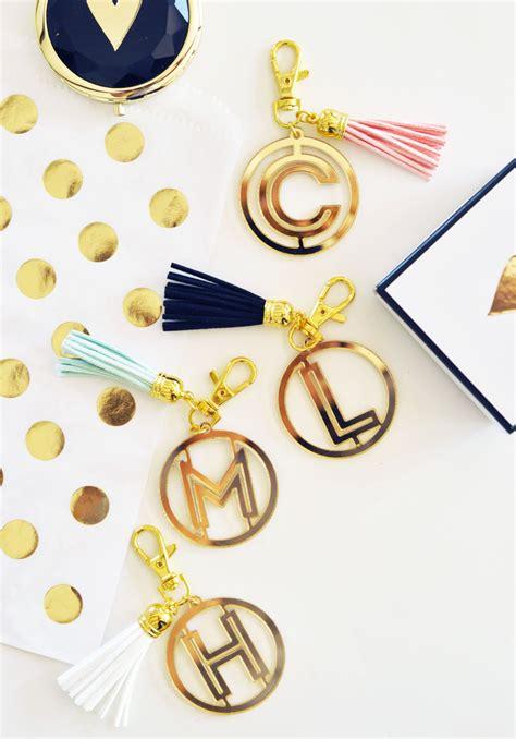 gold monogram acrylic keychains famous favors