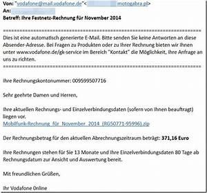 Vodafone Rechnung Fragen : malware vodafone ihre festnetz rechnung f r november 2014 mimikama ~ Themetempest.com Abrechnung