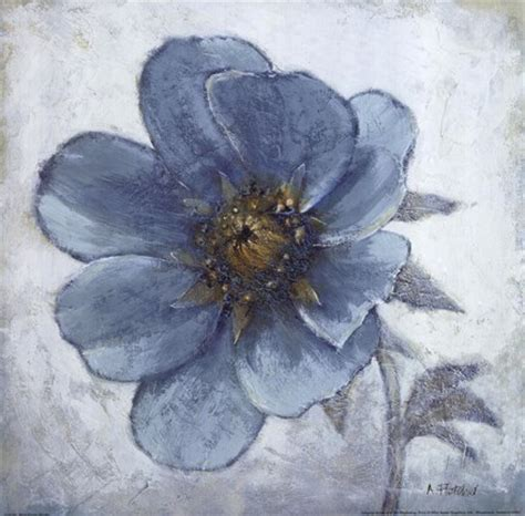 blue poppy single fine art print  adelene fletcher