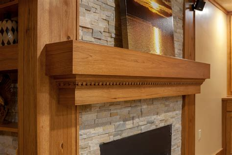 rustic hickory fireplace warsaw custom cabinets