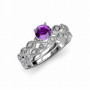 Amethyst diamond marquise shape engagement ring for Amethyst diamond wedding ring set