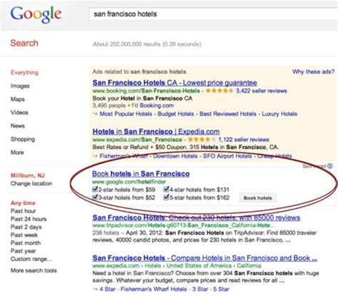 google repositions hotel finder atop organic search