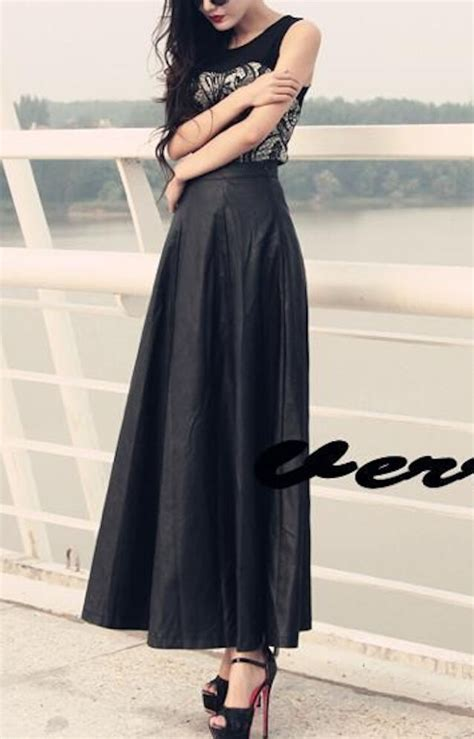 Flo Maxy Ori D Recommended gonna lunga donna simi pelle maxi skirt pu leather