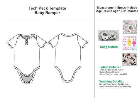 tech pack template tech pack template sleeves baby romper with