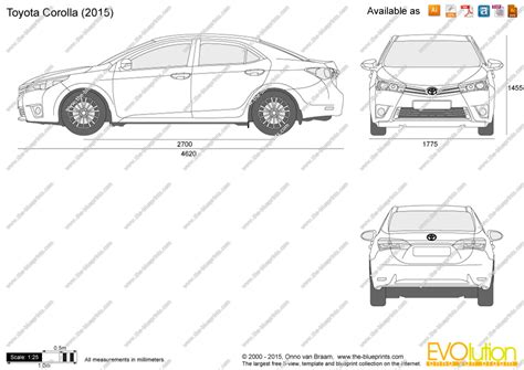 Toyota Corolla Dimensions by The Blueprints Vector Drawing Toyota Corolla