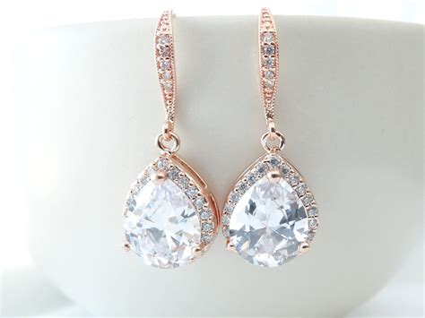 Wedding Jewelry Gold : Bridal Earrings Rose Gold Cubic Zirconia Teardrop Bridal