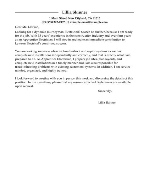 electrician cover letter samples leading professional apprentice electrician cover letter