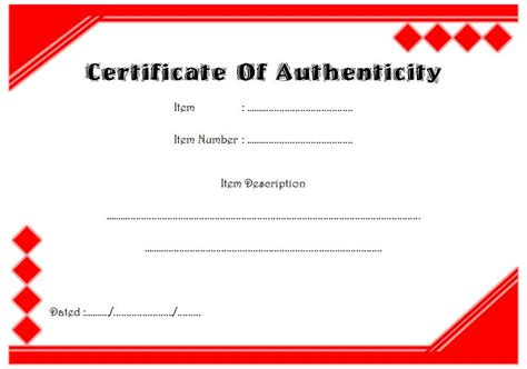 certificate  authenticity templates   limited