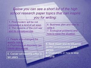 biology research topics for high school