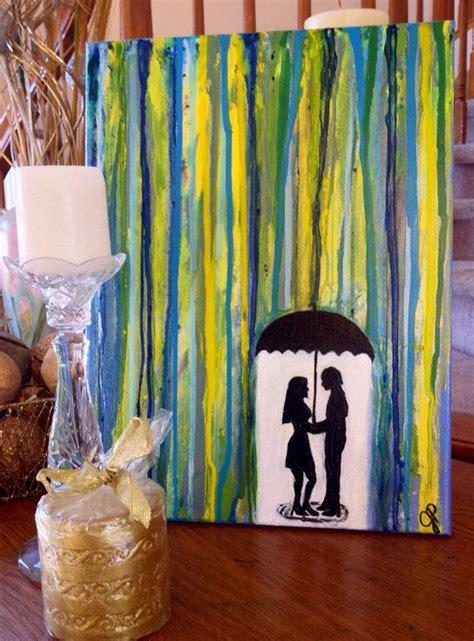 romantic painting  silhouette couple  umbrella