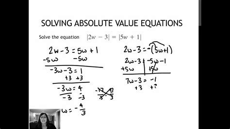 242 Solving Absolute Value Equations Containing Two Absolute Value Expressions (16) Youtube