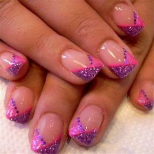 Pink and purple sparkle french   Nail Art   Pinterest