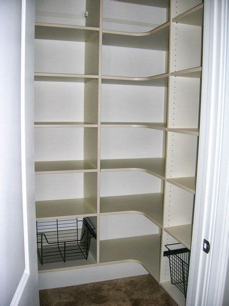 pantry with corner shelves and straight shelves   like the