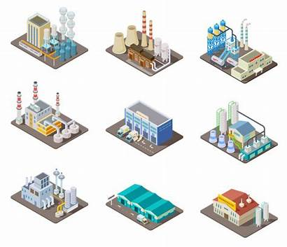 Factory Isometric Industrial Power Warehouse Plant Buildings