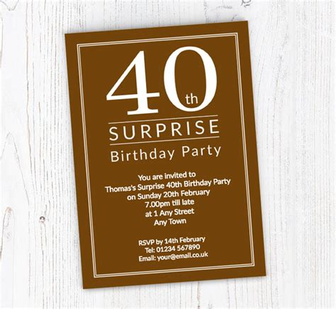 Surprise 40th Birthday Party Invitations Customise
