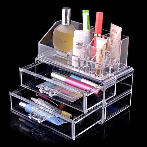 acrylic makeup organizer with drawers clear acrylic cosmetic makeup organizer with two drawers