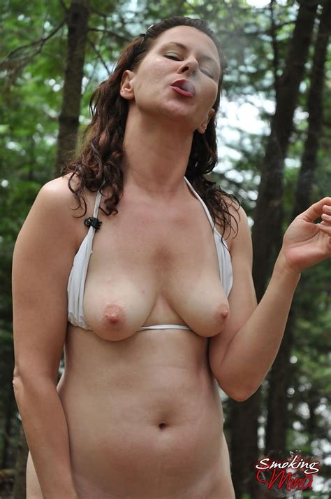 Sexy Milf Mina Gorey Enjoys A Smoke In The Woods Of