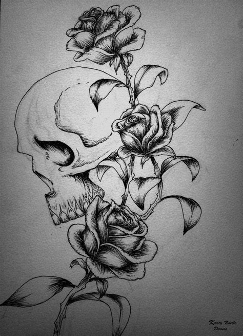 Image detail for -Skull and Roses Tattoo design by ~kirstynoelledavies on deviantART | Inked