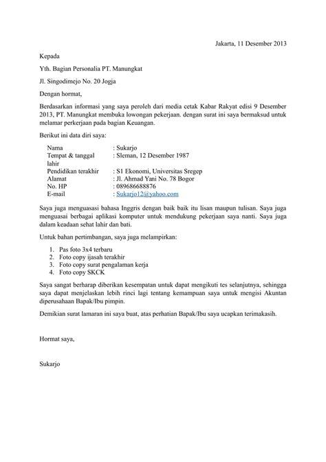 Lop Surat Lamaran Kerja Yang Benar by 15 Contoh Surat Lamaran Pekerjaan Yang Baik Dan