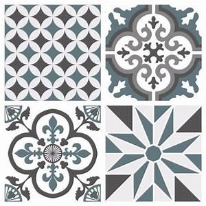 Carreaux De Ciment Autocollant : sticker carreaux de ciment ginette bleu gris ~ Premium-room.com Idées de Décoration