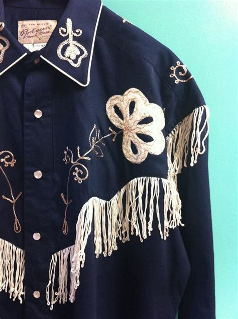rockmount ranch wear mens vintage western shirt fancy fringe navy blue