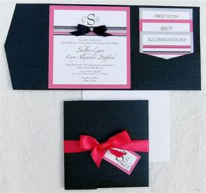 Ribbon rhinestone wedding invitation pocket for Pocket wedding invitations with ribbon and rhinestones