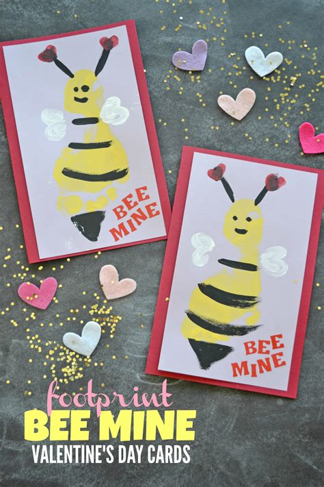 footprint bee  valentines day cards   takes