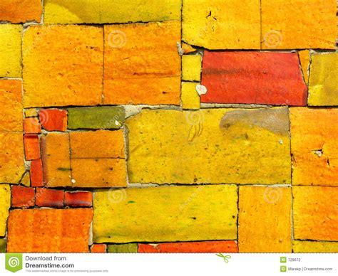 yellow tiles mosaic random pattern stock photo image