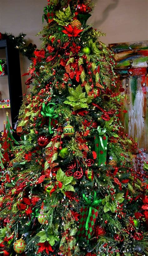 christmas tree red green christmas lime green  red