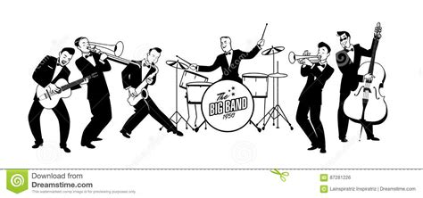 Jazz Swing Orchestra. Retro Style. Cartoon Illustration