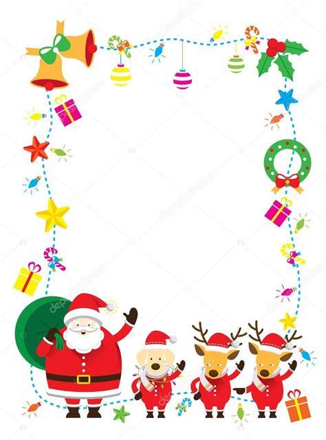 hanging file frame santa reindeer border background stock vector
