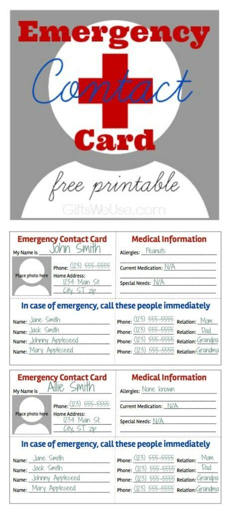 emergency contact card  printable gifts