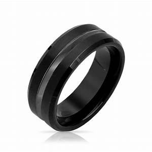 mens matte polish finish black tungsten wedding band ring With mens tungsten wedding rings
