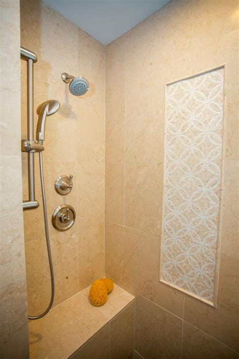 traditional walk  shower  accent tiles hgtv