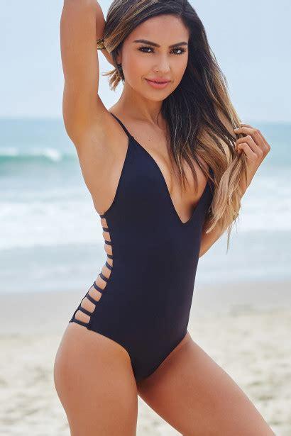 peony black deep  side cut  sexy  piece swimsuit