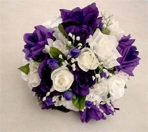 Purple Wedding Bouquet silk rose bouquet white roses ...